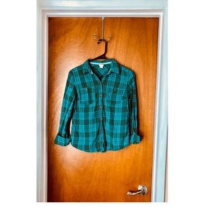 Green and Blue Plaid Button Down